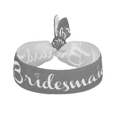 Bridesmaid White on Black Elastic Hair Tie