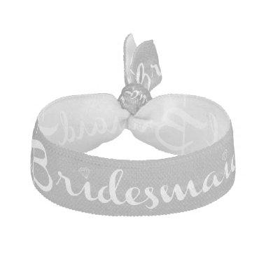 Bridesmaid White On Grey Elastic Hair Tie