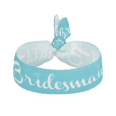 Bridesmaid White on Light Blue Ribbon Hair Tie