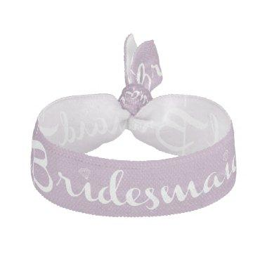 Bridesmaid White On Lilac Ribbon Hair Tie