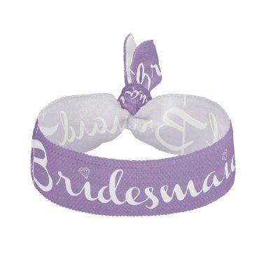 Bridesmaid White On Purple Elastic Hair Tie