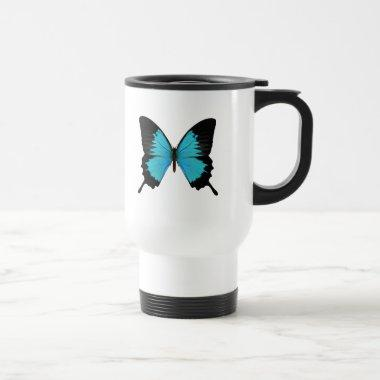 Bright Blue & Black Butterfly Original Colors Travel Mug