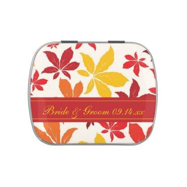 Bright Fall Leaves Wedding Favor Jelly Belly Candy Tin