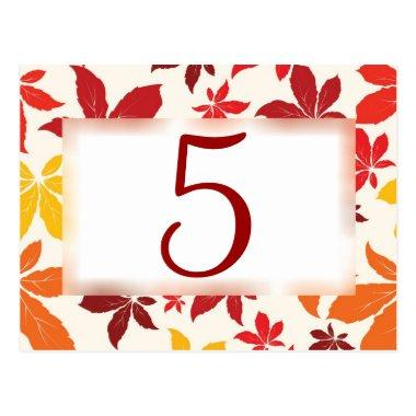Bright Fall Leaves Wedding Table Number