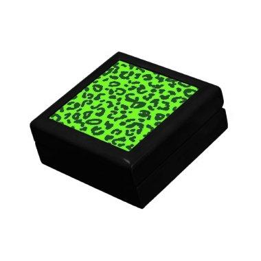 Bright Green Leopard Animal Print Keepsake Box