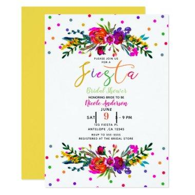 Bright Modern Floral White Fiesta Bridal Shower Invitations