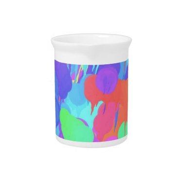Bright Neon Pastel Paint Splash Beverage Pitcher