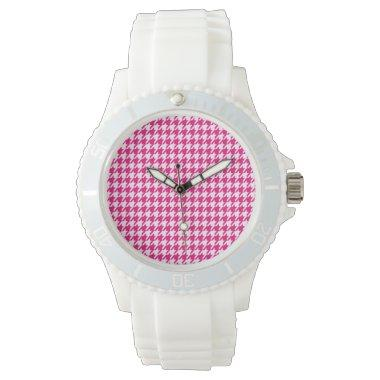 Bright Pink Houndstooth Wrist Watches