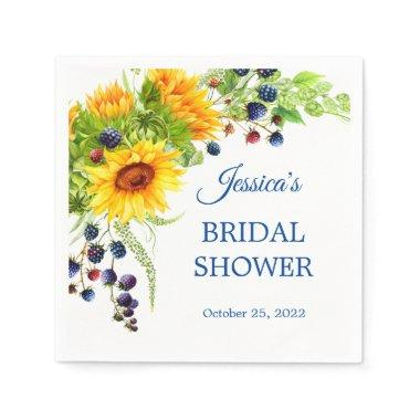 Bright Sunflower Rustic Bridal Shower Paper Napkins
