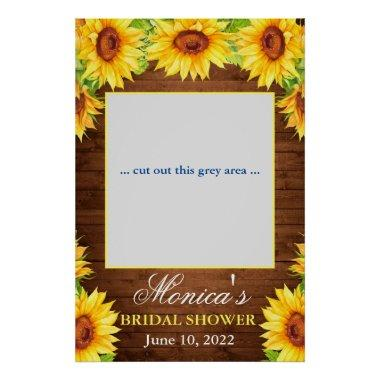 Bright Sunflowers Wood Bridal Shower Photo Prop Poster