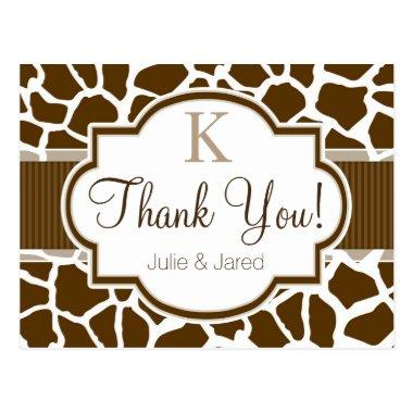 Brown, White Giraffe Animal Print Wedding Post