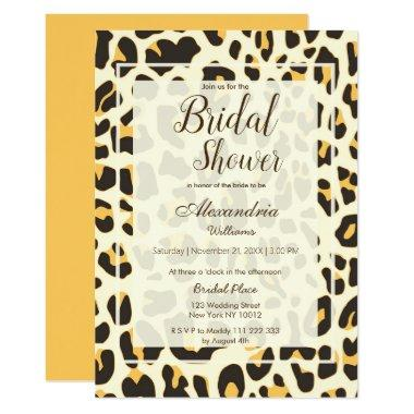 Brown yellow ivory animal print Bridal Shower Invitations