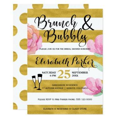 Brunch and bubbly floral stripe gold