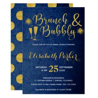Brunch and bubbly navy glam gold