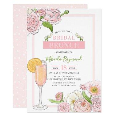 Brunch and Bubbly | Pink Floral Bridal Brunch Invitations