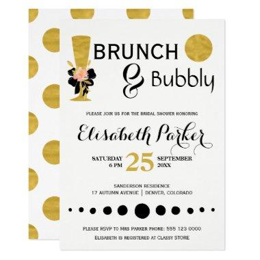 Brunch and bubbly white black gold bridal shower Invitations