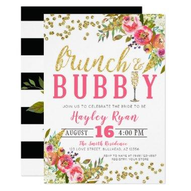 Brunch & Bubbly Black White stripes floral gold