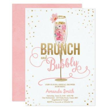 Brunch & Bubbly Bridal Shower Blush Gold Champagne Invitations