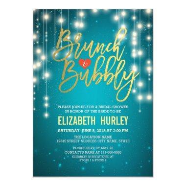 Brunch Bubbly  Gold Script Turquoise