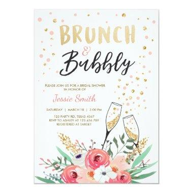 Brunch & Bubbly Bridal shower Invitations Pink Gold