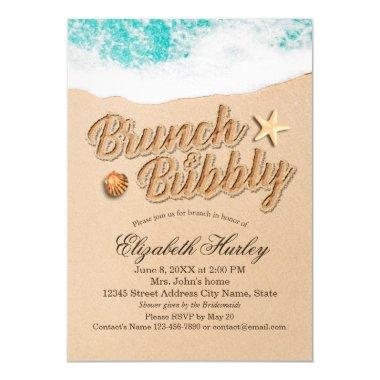 Brunch Bubbly Bridal Shower Summer Beach Starfish Invitations