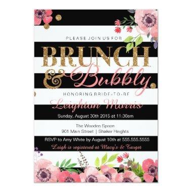 Brunch & Bubbly Glitter Black White Bridal Shower Invitations