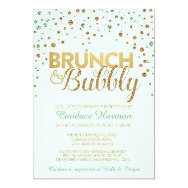 Brunch & Bubbly Glitter Bridal Shower Invitations