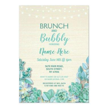 Brunch & Bubbly Succulents Bridal Shower Mint Invitations