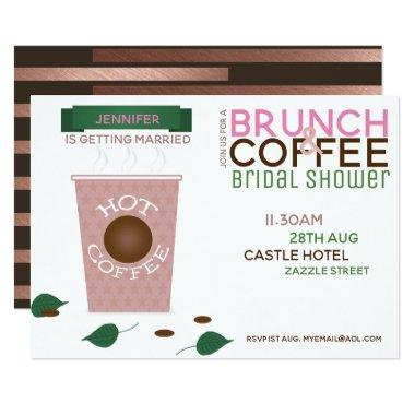 BRUNCH COFFEE Bridal Shower Invitations Pink Green