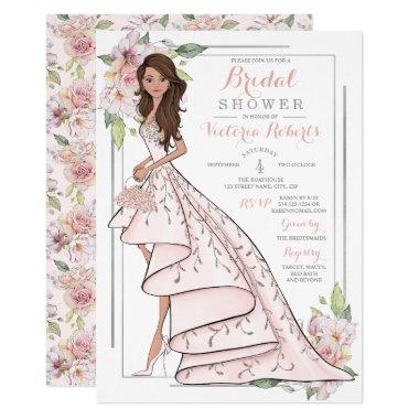 Brunette Bride Floral Bridal Shower Invitations