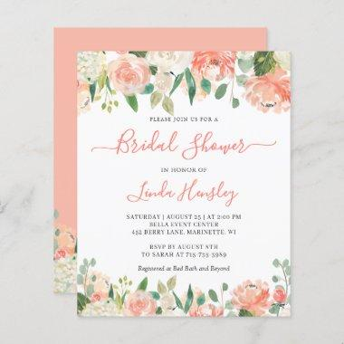 Budget Chic Coral Floral Bridal Shower Invitations