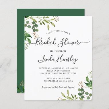 Budget Eucalyptus Leaves Bridal Shower Invitations