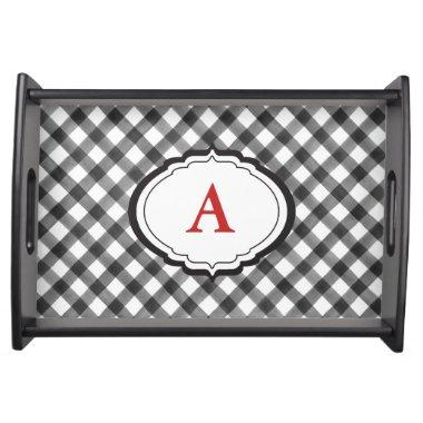 Buffalo Check Plaid Black White Custom Wine Cheese Serving Tray