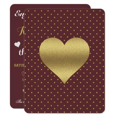 Burgundy And Gold Heart Polka Dot Party