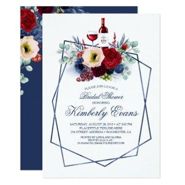 Burgundy and Navy Blue Wine Tasting Bridal Shower Invitations