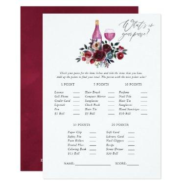 Burgundy and Navy Wine Tasting Bridal Shower Game Invitations