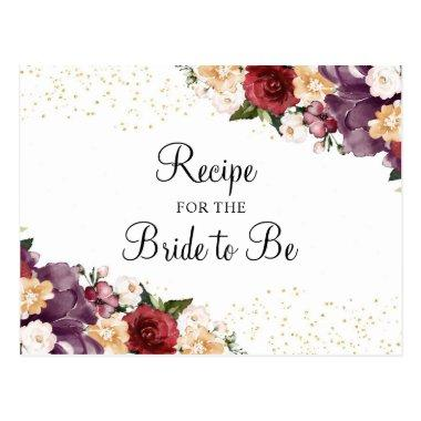 Burgundy Bliss Floral Bridal Shower Recipe Invitations