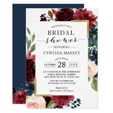 Burgundy Blush Blue Floral Modern Bridal Shower Invitations