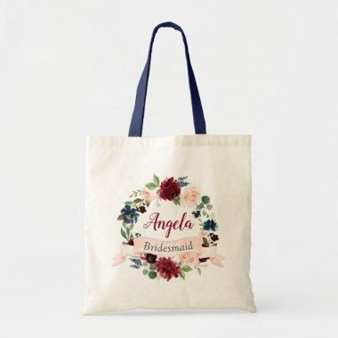 Burgundy Blush Blue Floral Wreath Bridesmaid Tote Bag