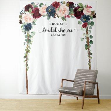 Burgundy Blush Floral Bridal shower Photo Backdrop