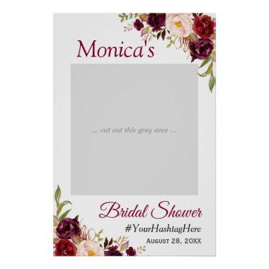 Burgundy Blush Floral  Photo Prop Poster