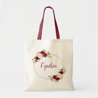 Burgundy Blush Floral Geometric Frame Bridesmaid Tote Bag