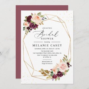 Burgundy Blush Floral Gold Geometric Bridal Shower Invitations