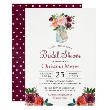 Burgundy Blush Pink Floral Mason Jar Bridal Shower Invitations