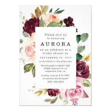 Burgundy Blush Pink Gold Floral Bridal Shower Invitations