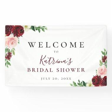 Burgundy Blush Watercolor Floral Banner