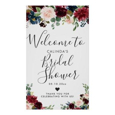 Burgundy Bouquet | Bridal Shower Welcome Poster