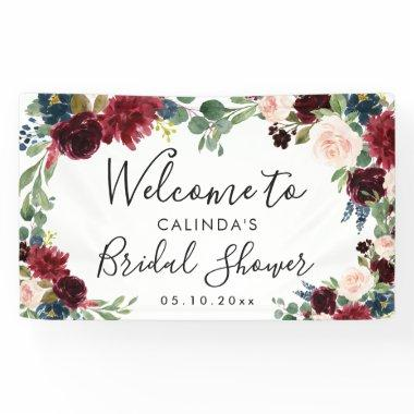 Burgundy Bouquet | Bridal Shower Welcome Square Banner