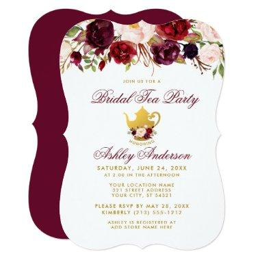 Burgundy Bridal Shower Tea Party Gold Invite BR