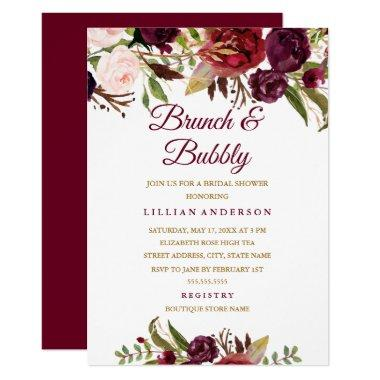 Burgundy Floral Brunch and Bubbly Bridal Shower Invitations